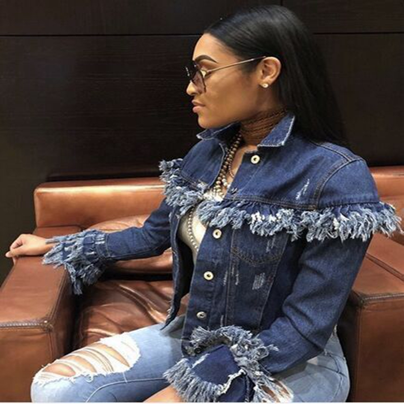 Autumn Winter Women Tassel Denim Jacket 2018 Harajuku boyfriend Wind Jean Jacket Loose Long Sleeve Female Coat Streetwear Female