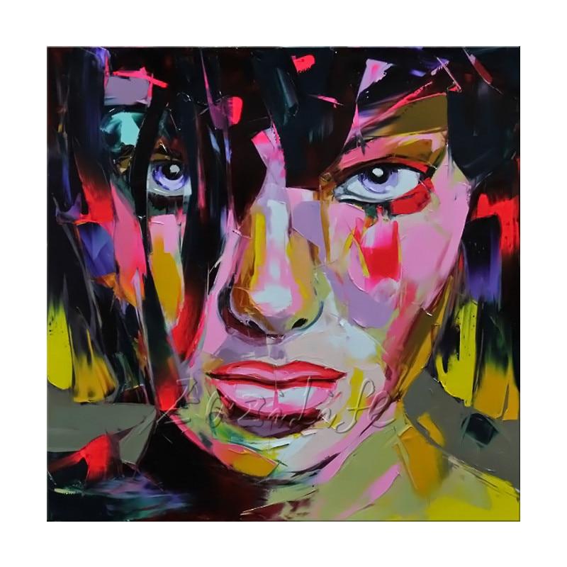 Francoise Nielly Leinwand Malerei Spachtel Gesicht Ölgemälde - Wohnkultur