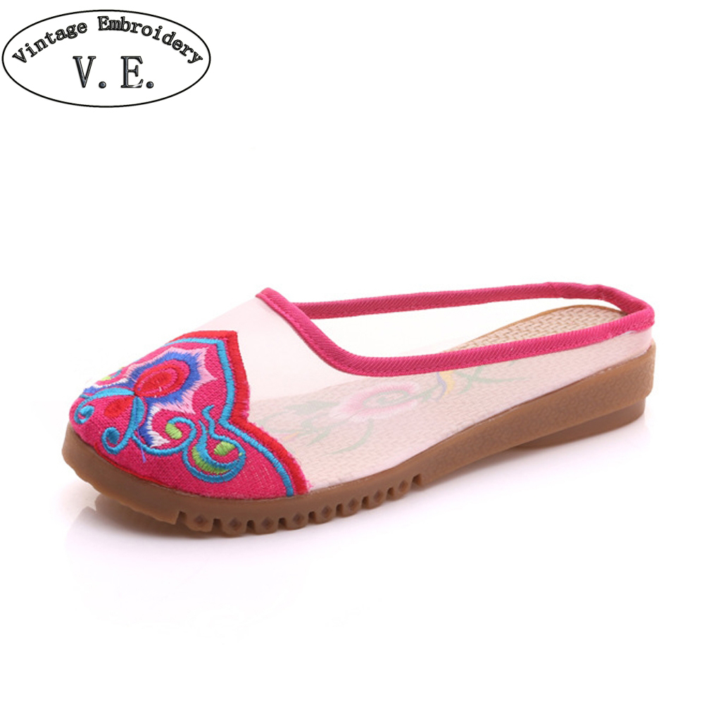 Chinese Women Slippers Gauze Cotton Flower Embroidered Linen Slide Summer Ladies Canvas Flat Sandals Slip On Shoes Women vintage embroidered women slippers summer new linen chinese canvas old beijing flowers sandals soft shoes size 35 41