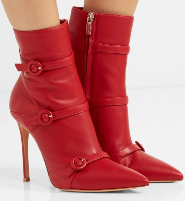 Ankle Boots For Women Winter Shoes 10CM High Heels Platform Boots Women Pointed Toe Red Buckle Winter Boots Ladies Booties бра mw light адель 3 373021501
