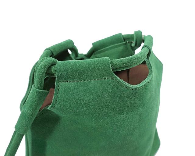 LilyHood 2018 Genuine Leather Small Bucket Shoulder Bag For Women Fashion Leisure Summer Ibiza Suede Fringe Green Crossbody Bag 3