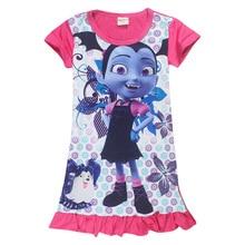 3-8 years Vaiana Junior Vampirina Girls Nightdress Summer Kids Clothes Children Flower Clothing Cartoon Nightgowns