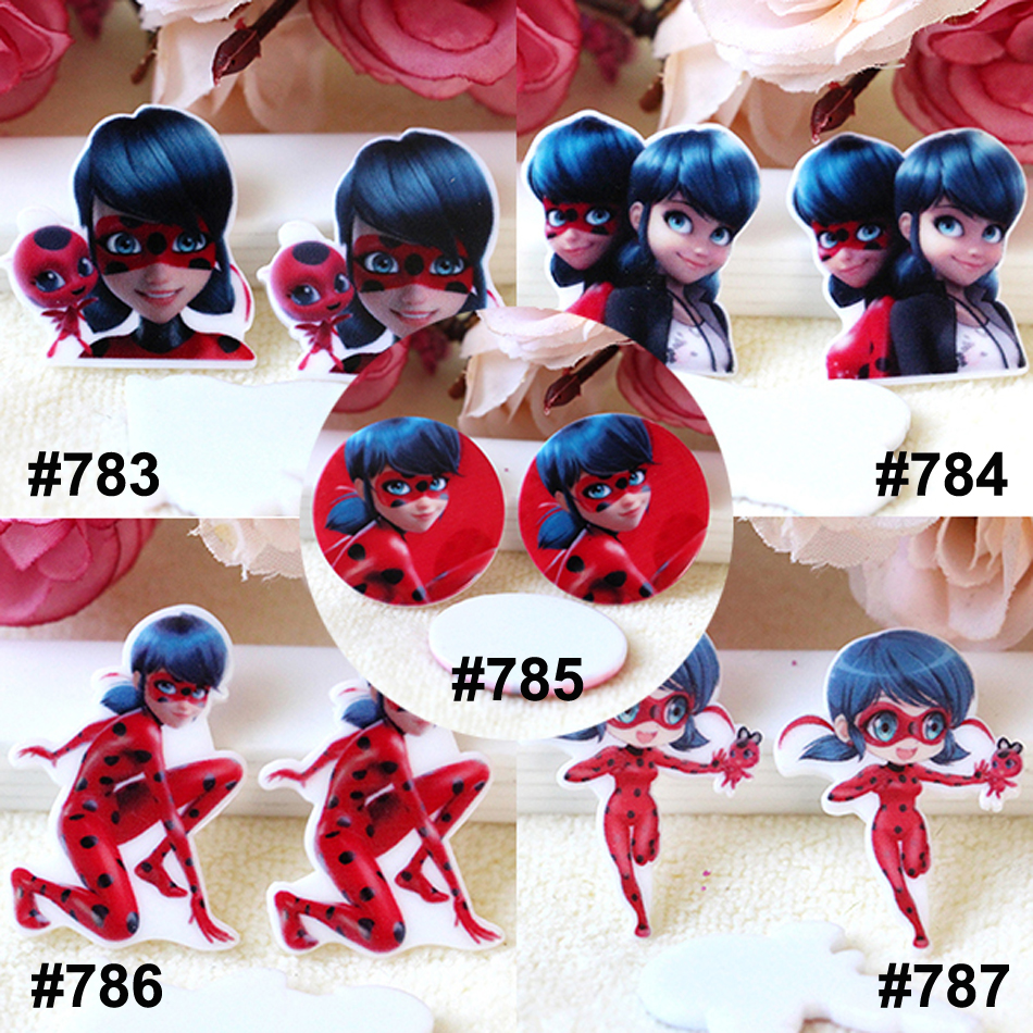 50pcs Mixed Cartoon LadyBug Flat Back Resin Planar Cartoon Character Resina DIY Craft for Home Decoration Accessories 10pcs Each