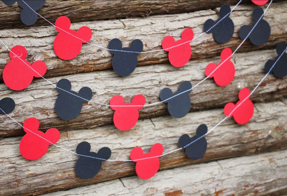 5pcs Mickey Mouse Garland Birthday Decor Red Black Baby Shower