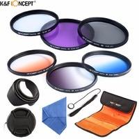 K&F CONCEPT 52mm Camera Filter Kit UV CPL FLD+Graduated Grey Blue Orange Color Filter+Lens Bag+Lens Hood/Cap+Cleaning Cloth