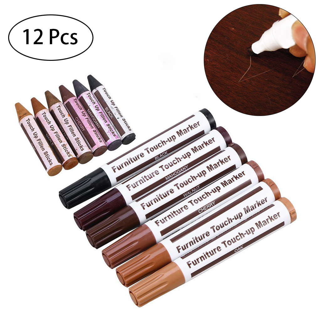 Office Stationery Pen Marker Pen 12Pcs Wood Furniture Repair Pen Wax Scratch Filler Remover Repair Fix D328(China)