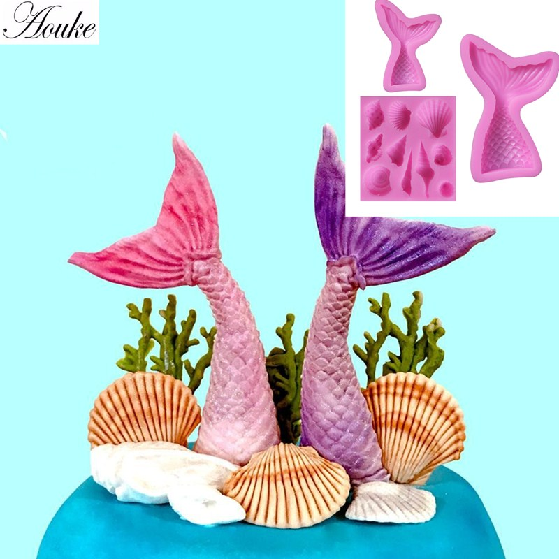 Aouke Mermaid Tail Starfish Conch 3 Piece Set Silicone Mold Soft Clay Candy Clay Mold Cake Decorating Tool