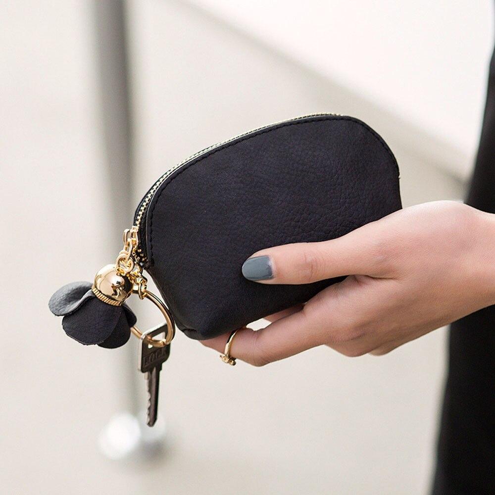 Модный женский мини-кошелек из искусственной кожи, держатель для карточки-ключа на молнии, кошелек для монет, цветочный кулон, клатч, маленькая сумочка - Цвет: Черный