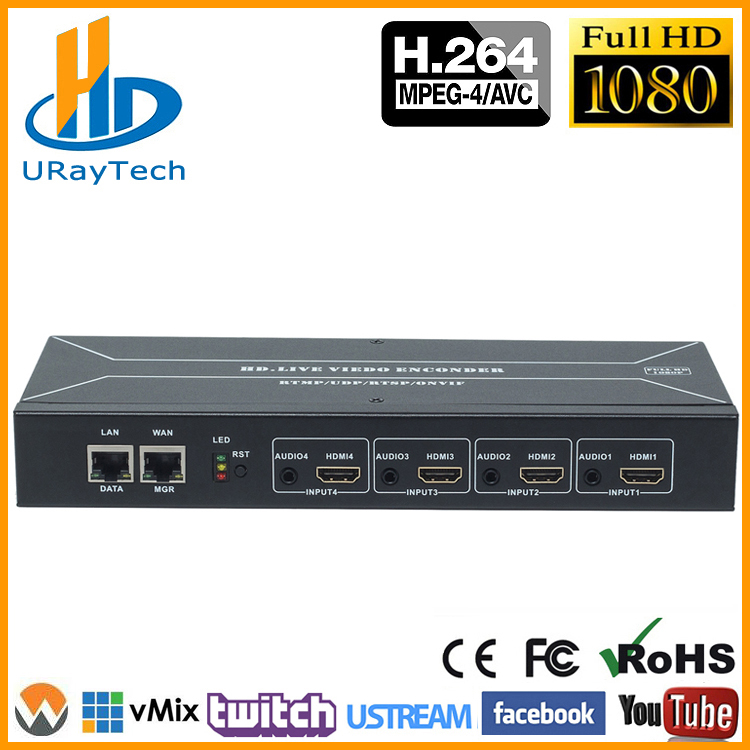 Cost effective 4 Channels H 264 HDMI Encoder HDMI To HTTP RTSP RTMP HLS UDP Converter