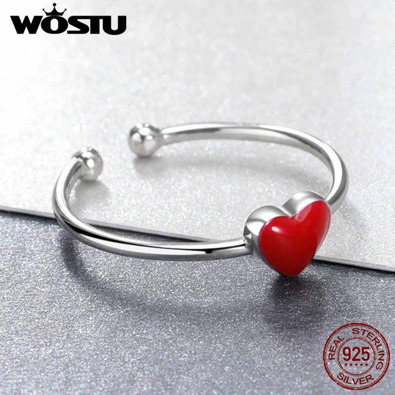 WOSTU טרנדי עיצוב 925 כסף סטרלינג חמוד אדום לב פתוח טבעות לתכשיטי נשים מתכוונן טבעת חג המולד מתנות CSR156