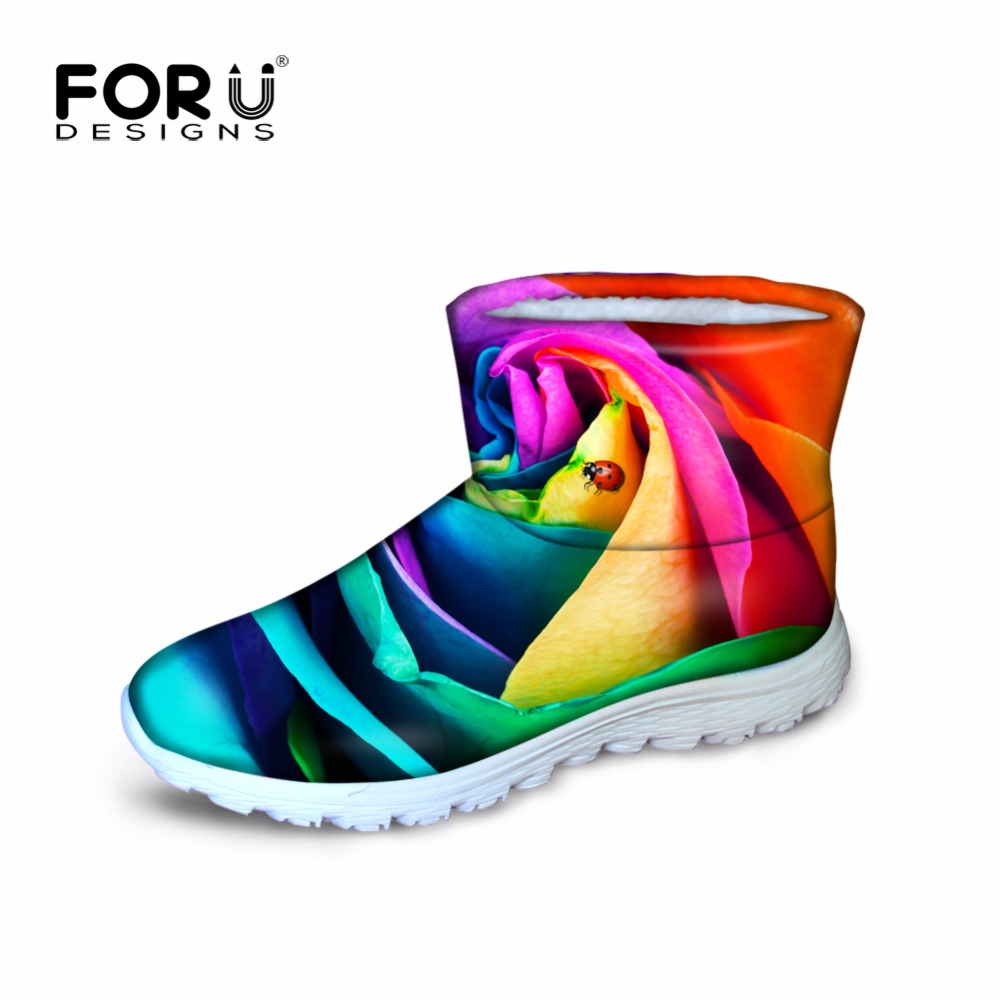 ФОТО FORUDESIGNS Fashion Women Winter Snow Boots 3D Rose Waterproof  Warm Feminine Snowboots For Girls Ladies Ankle Boots Casual Shoe