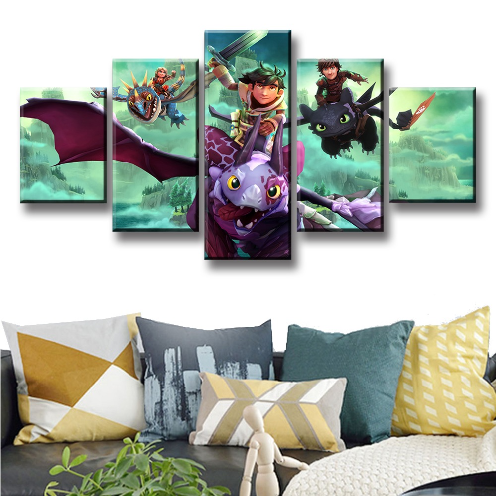 Wall Art Canvas Prints Pictures 5 Pieces Dragons Dawn Of New Riders Painting Modular Movie Anime Poster Decor Living Room Frames in Painting Calligraphy from Home Garden
