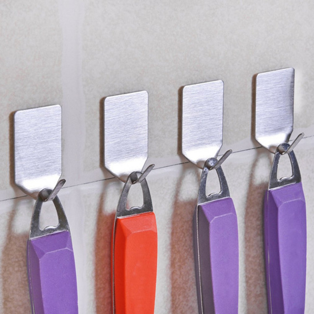 8PCS/SET Stainless Steel Family Kitchen Cabinet Wall Door Hooks  Self Adhesive Bathroom Wall