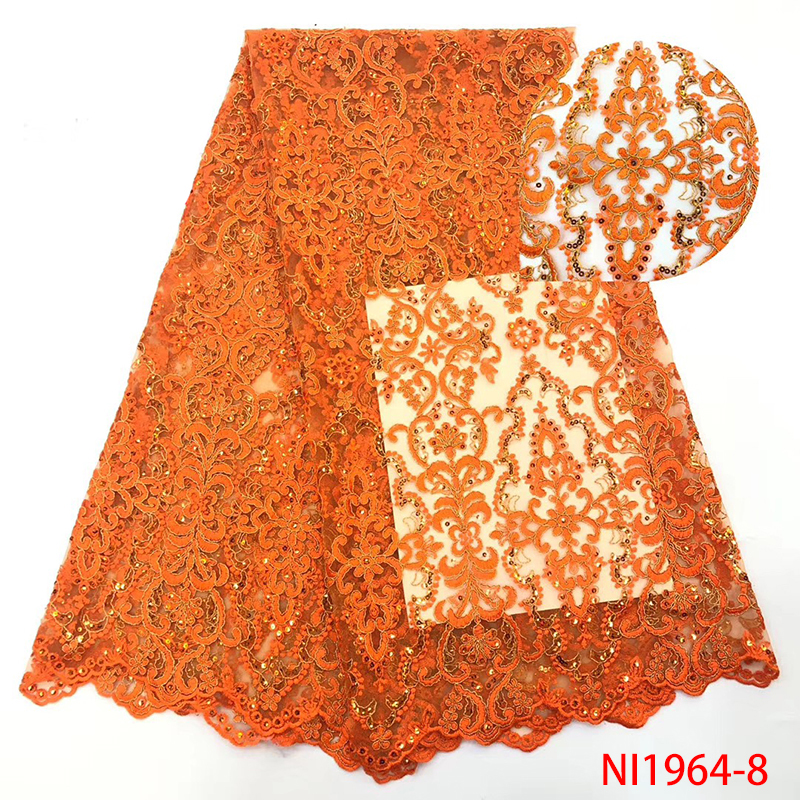 높은 qualily 번트 오렌지 아프리카의 얇은 명주 그물 레이스 원단과 스팽글 웨딩 드레스 amyni1964에 대한 프랑스어 메쉬 레이스 원단-에서레이스부터 홈 & 가든 의  그룹 1
