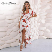WildPinky Women Long Maxi Dresses Bohemia V-neck Short Sleeve Floral Print Summer Beach Female Stylish Style Dress Vestidos