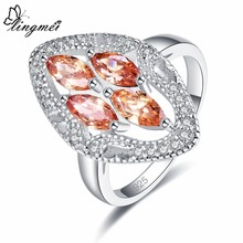 lingmei Wholesale Wedding Band Marquise Cut Yellow & Red White Cubic Zircon Silver Jewelry Ring Size 6 7 8 9 Party Gifts