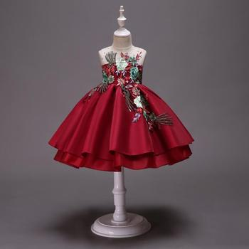2019 New Style Girls Dress Embroidered Skirt Bow Fuffy Satin Princess Party Formal Dresses Birthday Wear Cheap