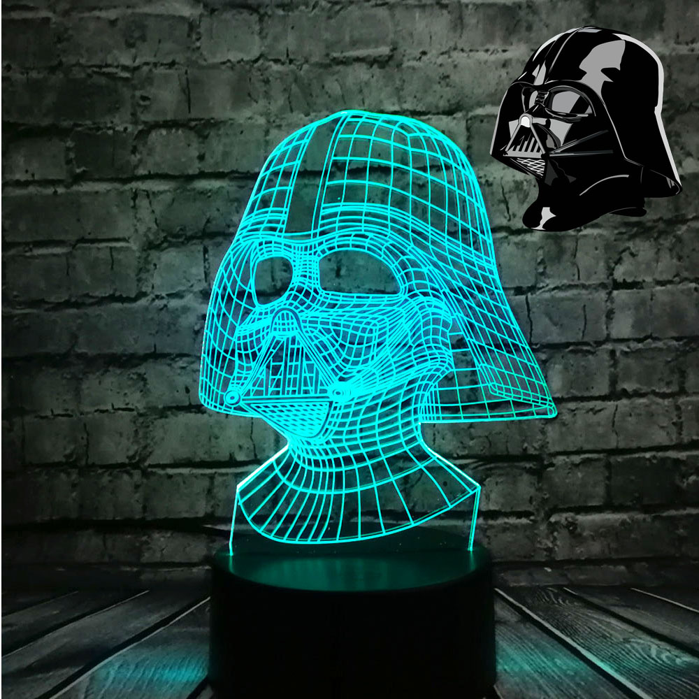NYHET Star Wars Darth Vader Dark Warrior 3D Nattlys USB LED Bordlampe Flerfarget belysning Visuell berøring Kule Figur Barneleker