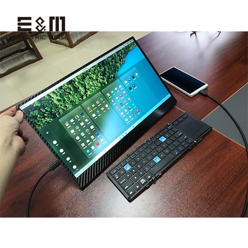 15.6 pollice 1920*1080 HDR IPS del Monitor LCD In Fibra di Carbonio Dello Schermo di Gioco di Tipo C Display Mac Mini PS4 XBOX NS HDMI PC DEX 5 v Computer Portatile Del PC