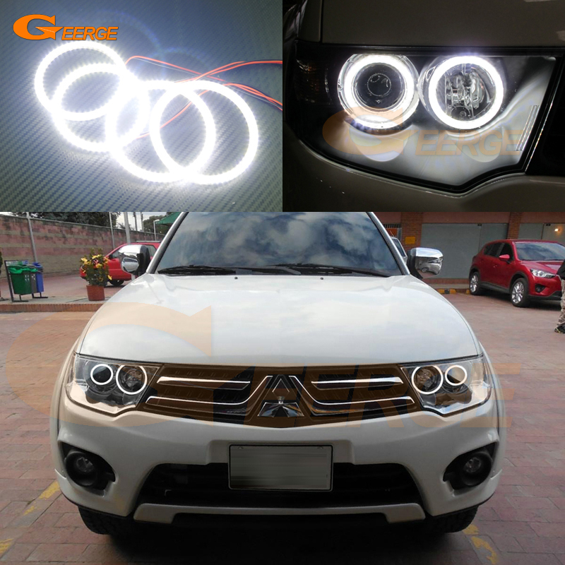 For Mitsubishi Nativa Pajero Dakar 2009-2015 Excellent angel eyes Ultra bright illumination smd led Angel Eyes Halo Ring kit