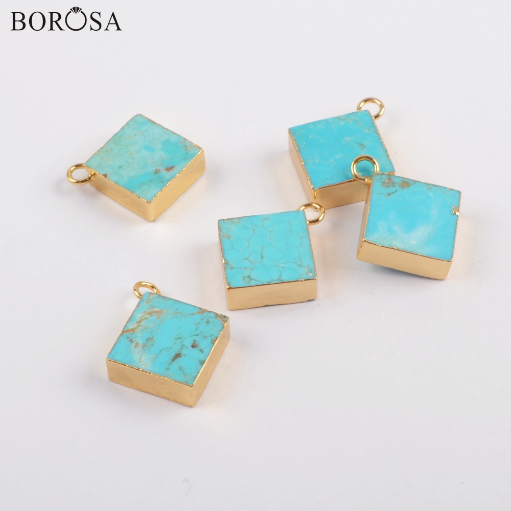 BOROSA Jewelry 10PCS Rhombic Gold Color Natural Turquoises Charm <font><b>15x15mm</b></font> Gems Pendant for Earrings/Necklace Jewelry Making G1828 image