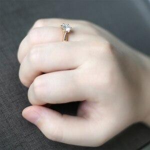 Image 5 - Transgems Solitaire Anello di Fidanzamento 14 k Oro Giallo 1 carat Diametro 6.5mm F Colore Moissanite Anello di Fidanzamento Per Le Donne da sposa