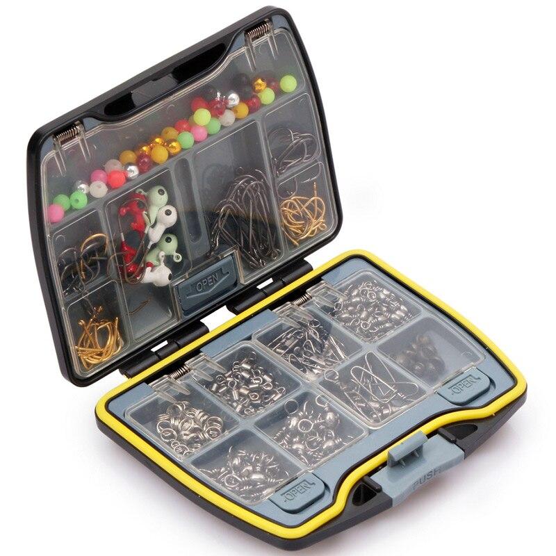Brand Fishing Tackle Box Swivels Snaps Spilt Beads Jigs <font><b>Hook</b></font> Sinker Fishhook Connector Set Pin Lead Fall Kit Fishing Accessories
