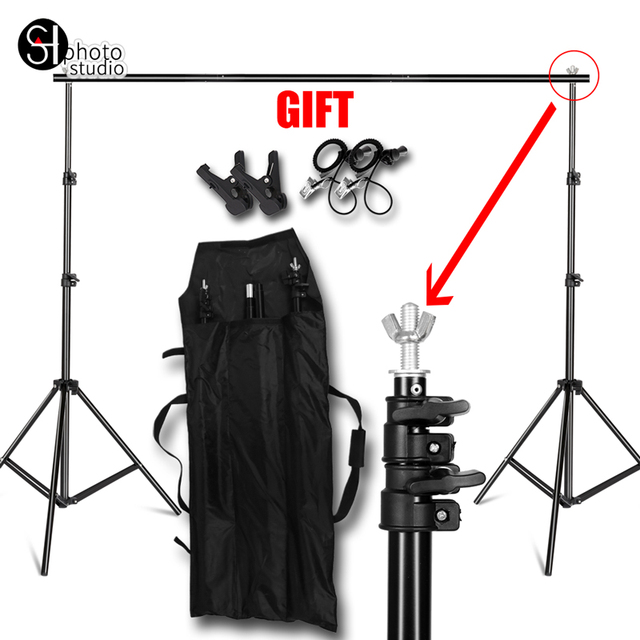 Background Stand Support System Kit Studio Professinal Photography Photo Backdrops with Carrying Case Clip for Muslins Paper etc