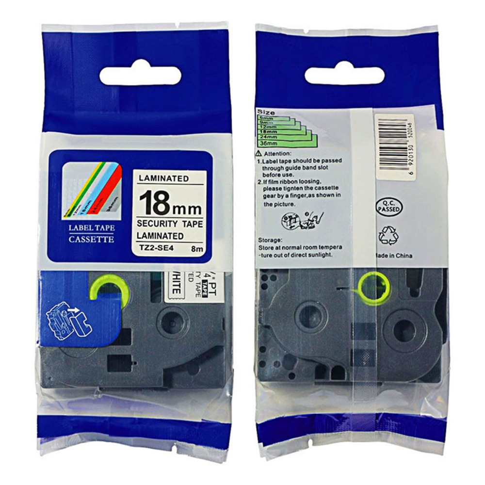 Security Label Tape Compatible For Tze-SE4 Tz Se4 Tze SE4 P-Touch 18mm 8m Free Shipping