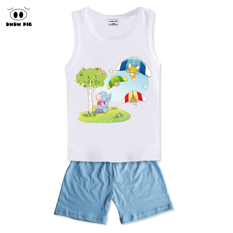 DMDM PIG Vest + Shorts Clothing Sets Kids Baby Clothes For Boys Girls Clothes Childrens Sports Suits For Boys Costume For Girls
