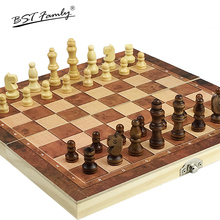 Chess & Backgammon & Checkers 3 in 1 Travel Wooden Chess Game Set Size 24 x 24 mm Wooden Pieces and Board King Height 46mm I56 стоимость