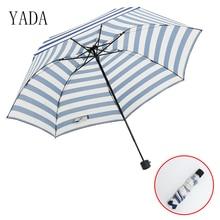 YADA Blue & White Plaid Stripes Umbrella Rain Women High Quality Clear Car For Womens Windproof Folding Umbrellas YS007