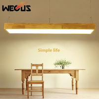 Nordic modern pendant lights solid wood rectangle hanging light for kitchen office restaurant bar counter lamp