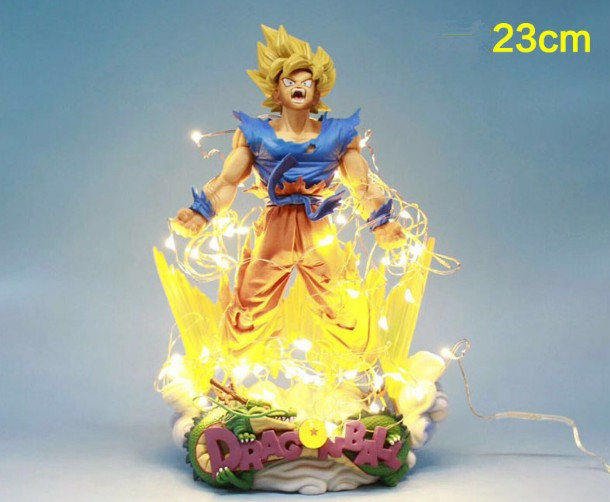 24CM High Limited Edition Dragon Ball Z LED Son Goku Explosion Figurine MSP Super Saiyan Rage
