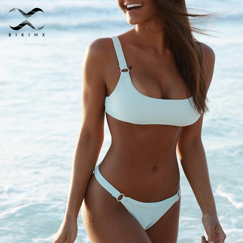 Buy Bikinx Bandeau yellow bikini 2018 Sexy two-piece suits push swimwear women swimsuit solid bikini Summer swimming bathing suit