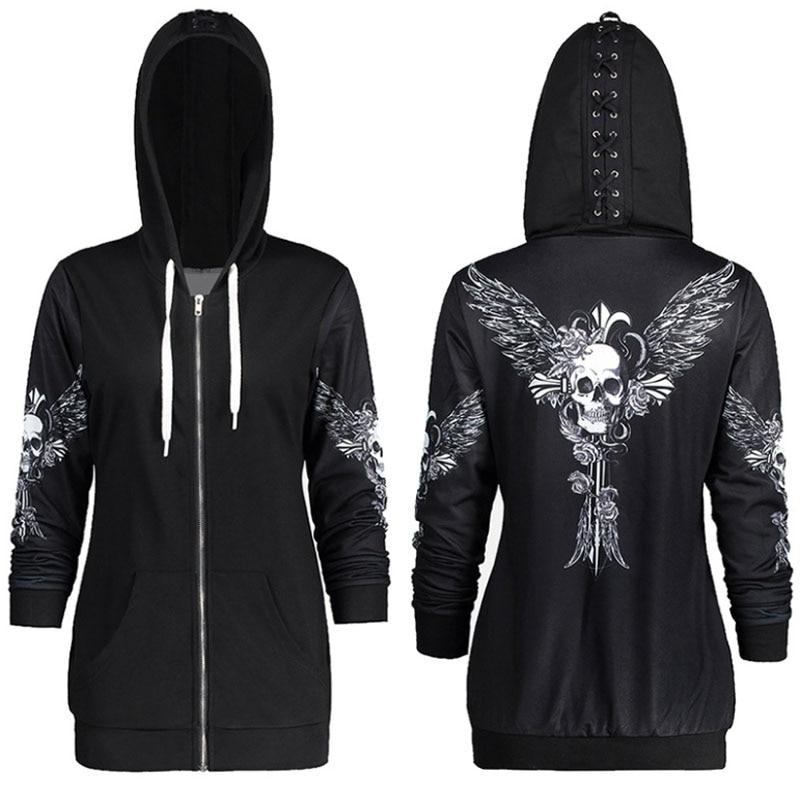 1color 5 Size Autumn Kpop Clothes Black Women Hoodies Sweatshirts Punk Long Sleeve Skull Wings Print Hooded Jacket Zipper Coat