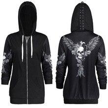 1 цвет 5 размеры Осень Kpop одежда черный для женщин толстовки кофты панк с длинным рукавом Череп Крылья печати куртка с капюшоном, на молнии пальто