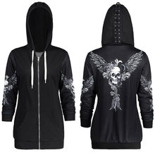 1color 5 Size Autumn Kpop Clothes Black Women Hoodies Sweatshirts Punk Long Sleeve Skull Wings Print Hooded Jacket Zipper Coat(China)