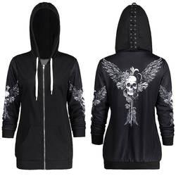 1 цвет 5 размеры Осень Kpop одежда черный для женщин толстовки кофты панк с длинным рукавом Череп Крылья печати куртка с капюшоном, на молнии
