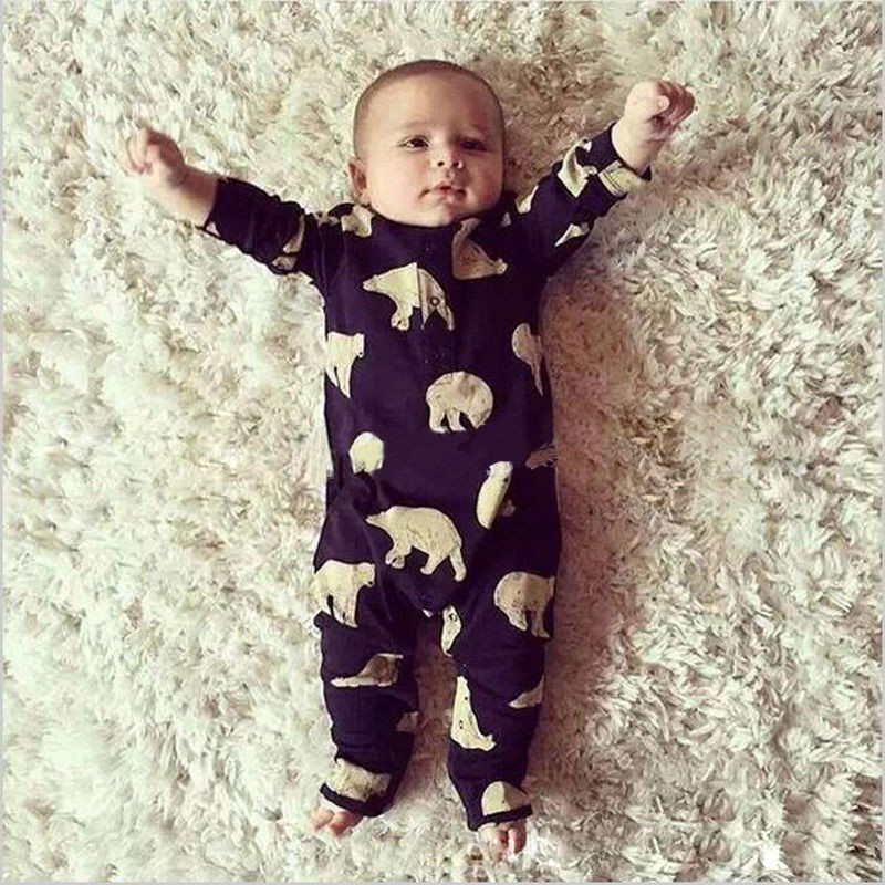 Polar Bear Cotton Romper Long Sleeve Bodysuit for Baby Boys Girls