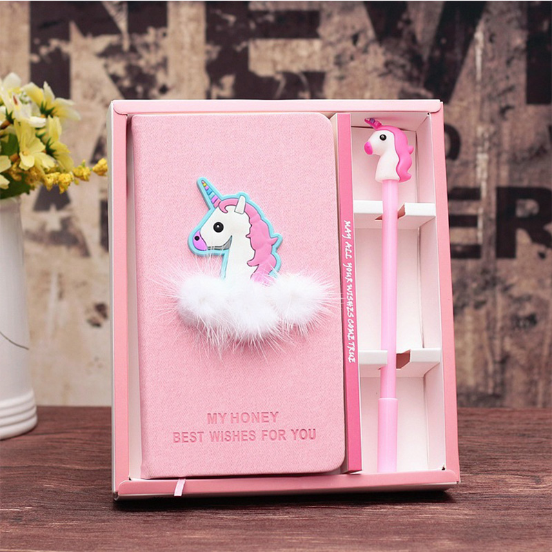 Cute Kawaii Unicorn Flamingo Notebook Gel Pen Set with