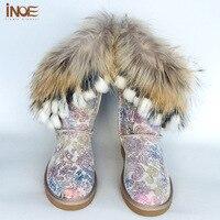 INOE Nuevos colores de Moda borlas de piel de zorro de la vaca suede cuero calidad cargadores de la nieve de las mujeres patean los zapatos Fénix cola de impresión