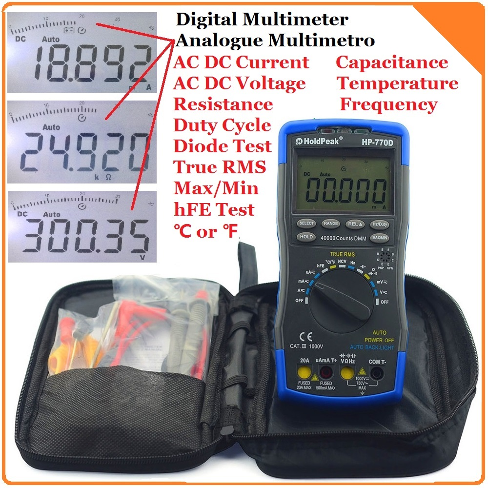 ФОТО HoldPeak HP-770D Multimetro Digital Multimeter Auto Range True RMS Frequency/ Temperature Tester and Carry Bag