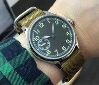 44 мм PARNIS черный циферблат Азиатский 6497 17 драгоценностей механический ручной Ветер движение Мужские часы зеленые светящиеся механические ч...