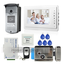 Free Shipping Brand New Apartment 7″ Video Intercom Door Phone System RFID Reader Camera + Electric Door Lock In Stock Wholesale