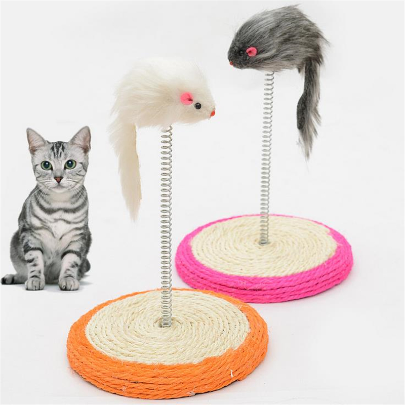 DoreenBeads Cat Scratch Board Sisal Disc Spring Mouse Tease Cats Toys Pet Cat Scratcher Toy for Kitten Grinding Nail Playing Fun