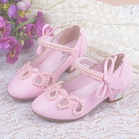 New Children Sandalen Meisjes High Heel Shoes For Kids Beaded Bow Girls Princess Party Shoes Leather
