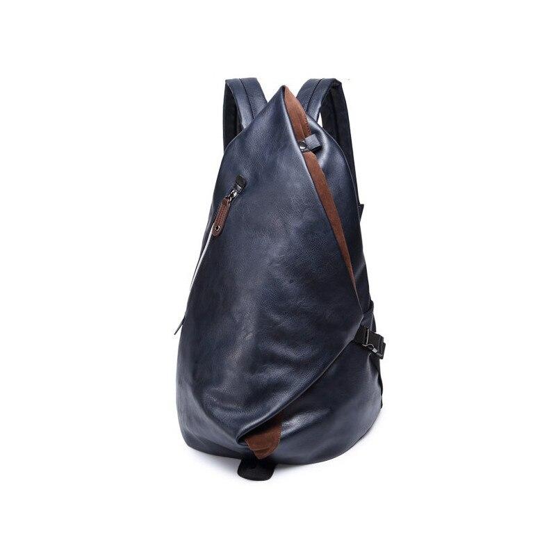 YGDB Men Women Day Backpack PU Leather Laptop Vintage Back Pack Solid Bag For 14 Inch Laptop Teenager School Bags Ruckasack 9016