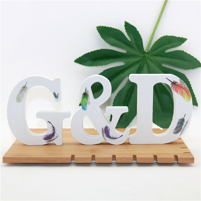 1pc 10cm Wooden Letters Alphabet Name Word Letter Standing Feather DIY Design Height Art Crafts Home Party Decor 3.94 Inches 6