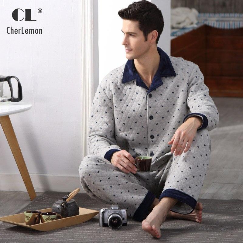 Quilted Cotton Men Pajama Set Full Sleeve Winter Thick Pyjima Sleepwear Casual Polka Dot Warm Sleep Lounge Male Nightwear M-4XL